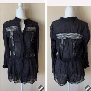 Zimmermann black long sleeve lace trim romper 4198
